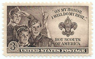 """It was issued in Valley Forge, Pennsylvania, on the opening day of the 1950 Boy Scout Jamboree in that location. The stamp features three Scouts of varying ages (and Scouting levels). The Statue of Liberty is shown in the background, reflecting the 1950 Scout theme """"Strengthening the Army of Liberty."""""""