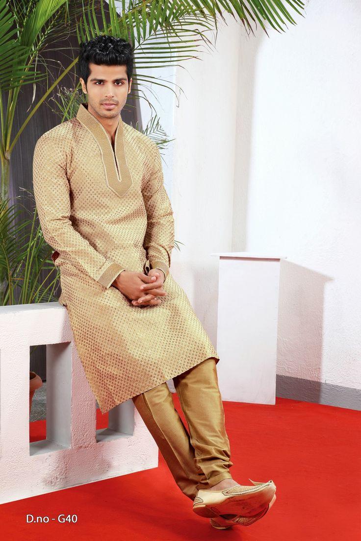 Indian ethnic wear wedding bridegroom sherwani,perfect for every men. Sherwani is the most popular wedding dress choice in India and Pakistan. Click here to buy @ http://www.mohakshoppe.com/elegant-rich-look-designer-gold-kurta-churidar~4454.htm