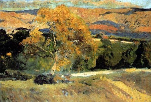 El Arbol Amarillo-La Granja oil on canvas by Joaquín Sorolla ( 1863-1923)