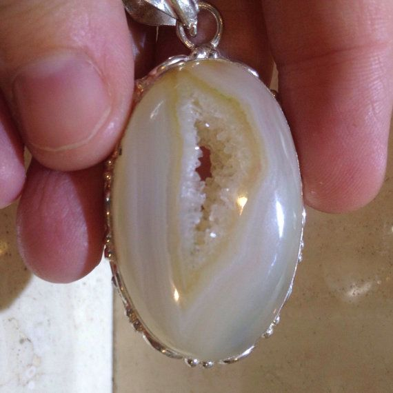 Agate with Crystal Pocket by JessikaDavisEMS on Etsy