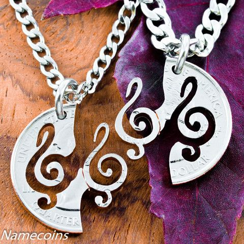 Interlocking Treble Clef Necklace set, Music jewelry, hand cut coin – NameCoins