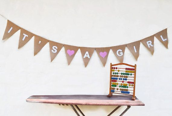 IT'S A GIRL Banner Pink Hessian Burlap Nursery Baby Shower Maternity Children Celebration Party Banner Bunting Decoration