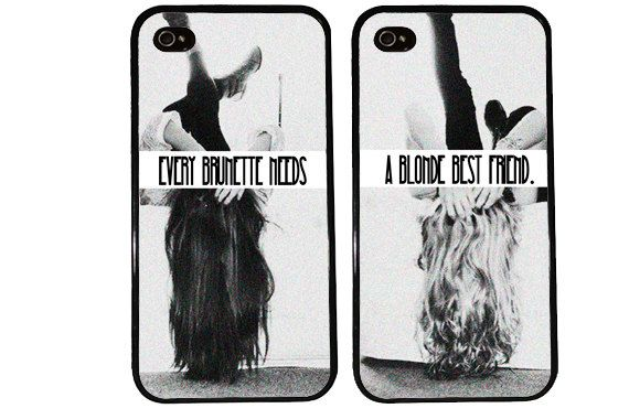 SALE BFF Case / Blonde and Brunette iPhone 4 Case by KasiaKases