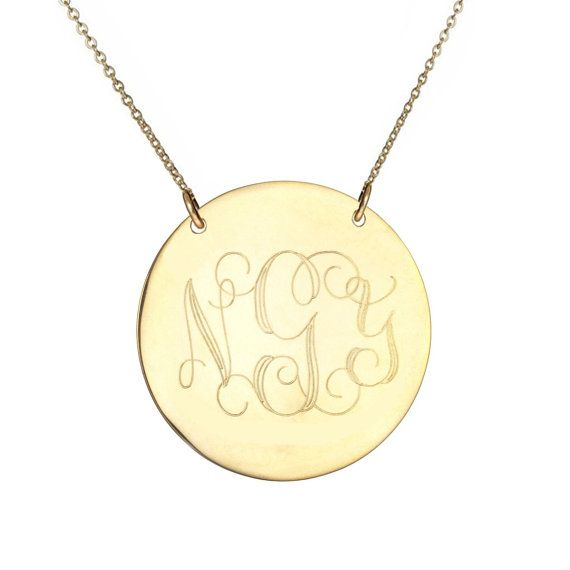 "Monogram necklace - personalize gold monogram necklace 1"" gold plated 18k on .925 silver"