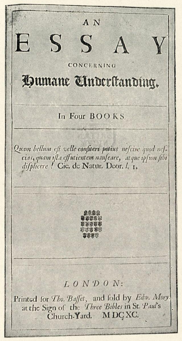 """Explicación del concepto y las características de un ensayo: John Locke - Portada de """"Ensayo del entendimiento humano"""""""