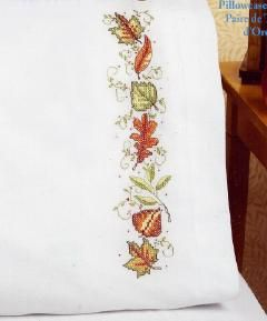 Janlynn Autumn Leaves Stamped Cross Stitch Pillowcases