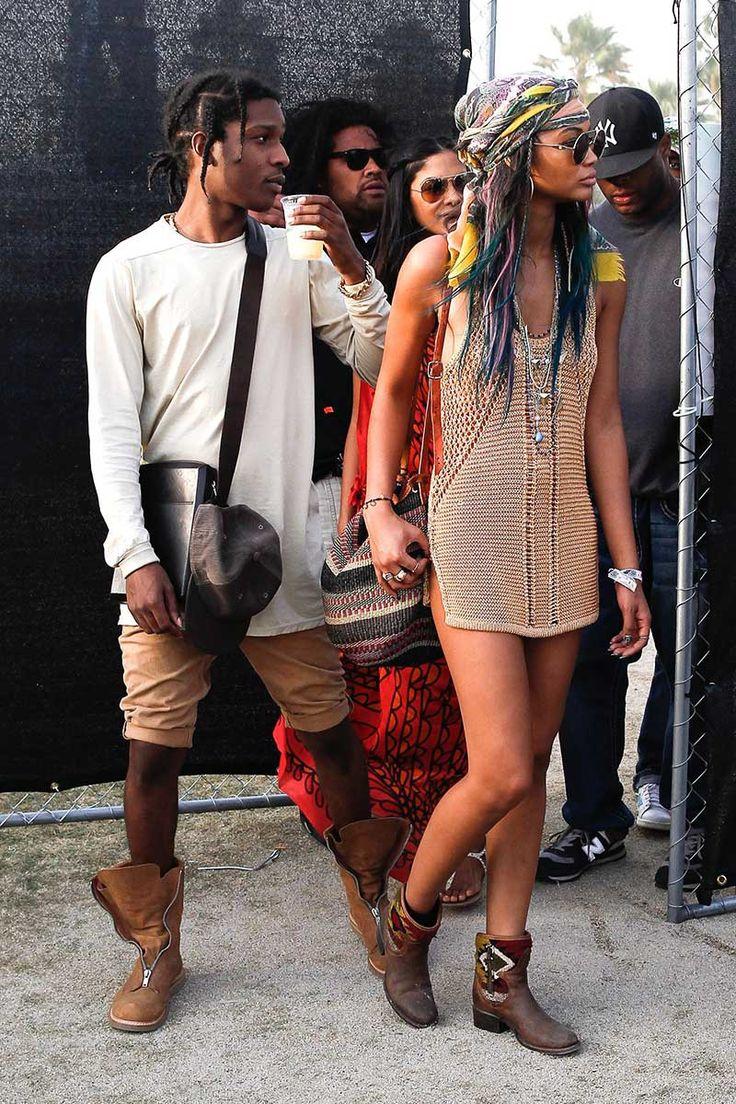 Celebrities y street style en el Festival de Coachella 2014: Asap Rocky y Chanel Iman