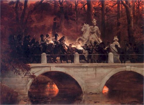 Wojciech Kossak, 1898.Clash between Polish insurgents and Russian cuirassiers during the November Uprising on bridge in Łazienki Park, Warsaw.