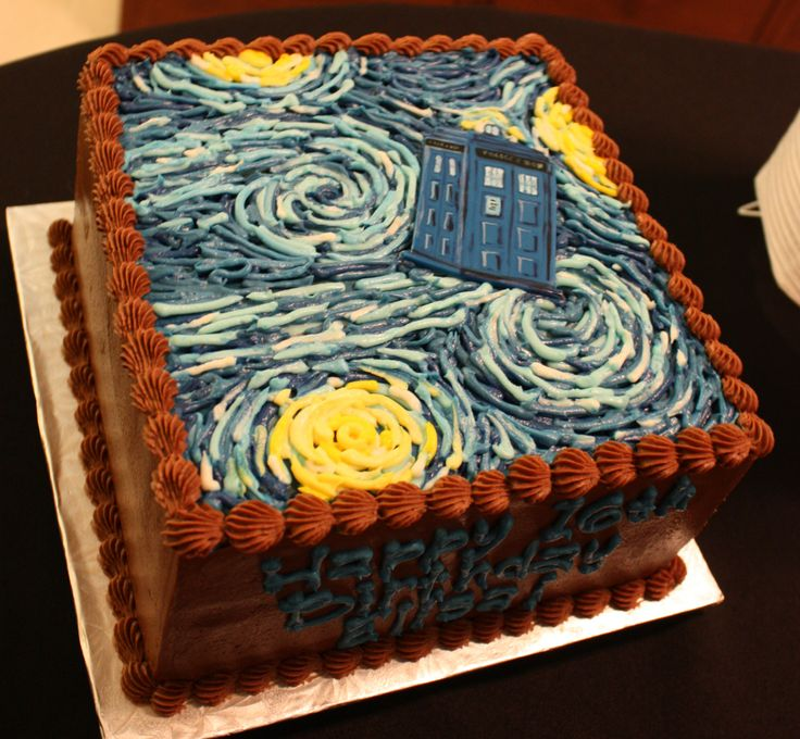 Doctor Who Party - TARDIS Starry Night cake by Stuffed Cakes- and it's my favorite episode!