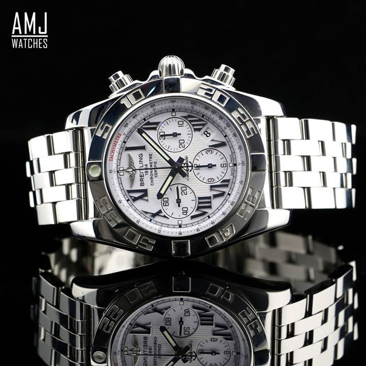 RRP: £7,250.00 OUR PRICE £6,525.00  BREITLING CHRONOMAT 44  AVAILABLE WITH 0% FROM  PER MONTH  FREE 10% DISCOUNT ... FREE 0% FINANCE ... FREE DELIVERY ...  CHRONOMAT 44 The leading model among the Breitling collections, the Chronomat 44 reflects a universe dedicated to performance, sporting feats and surpassing personal limits. The sturdy case housing Manufacture Breitling Caliber 01 boasts water resistance to a depth of 500 m (1,650 ft) – a feat worthy of a diver's watch. This chronograph…