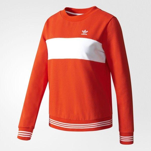 adidas Sweatshirt - Red | adidas UK ($64) ❤ liked on Polyvore featuring tops, hoodies, sweatshirts, adidas, red sweatshirt, red top, adidas sweatshirt and adidas top