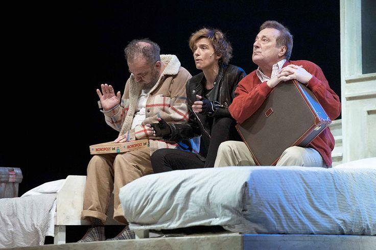 Giobbe Covatta, Enzo Iacchetti e Irene Serini in MATTI DA SLEGARE; foto di Angelo Redaelli