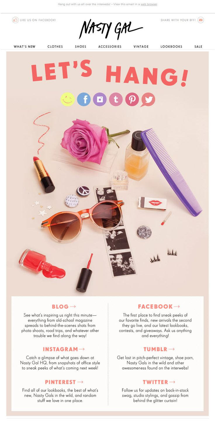 Nasty Gal sends a social-focused email as part of their multi-touch welcome series