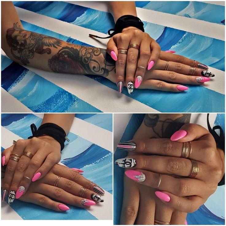 Pink long nails. Channel nails art. Black.white.women