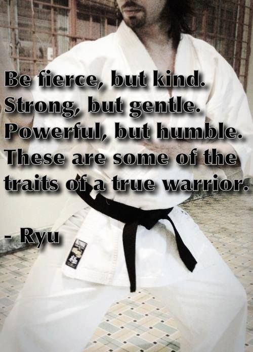 """Be fierce, but kind. Strong, but gentle. Powerful, but humble. These are some of the traits of a true warrior."" ~ Ryu"