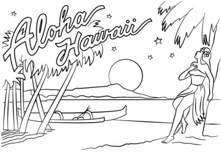 Beautiful Hawaiian aloha beach coloring page