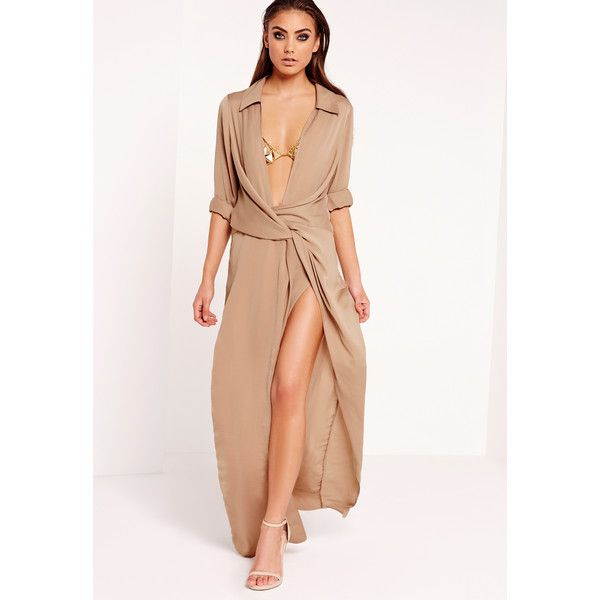 Missguided Peace + Love Wrap Front Shirt Maxi Dress ($119) ❤ liked on Polyvore featuring dresses, nude, going out dresses, sexy maxi dress, wrap front dress, long sleeve party dresses and sexy party dresses