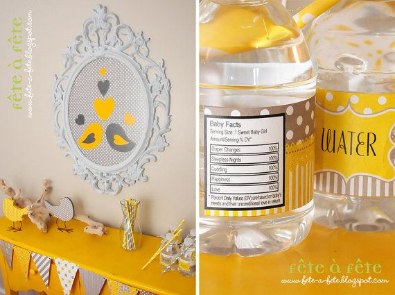 "On SALE for a LIMITED time!! Love ""Nesting Birds""  Gender Neutral Yellow and Grey Baby Shower Party Editable & Printable Kit on Etsy, $17.39 AUD"