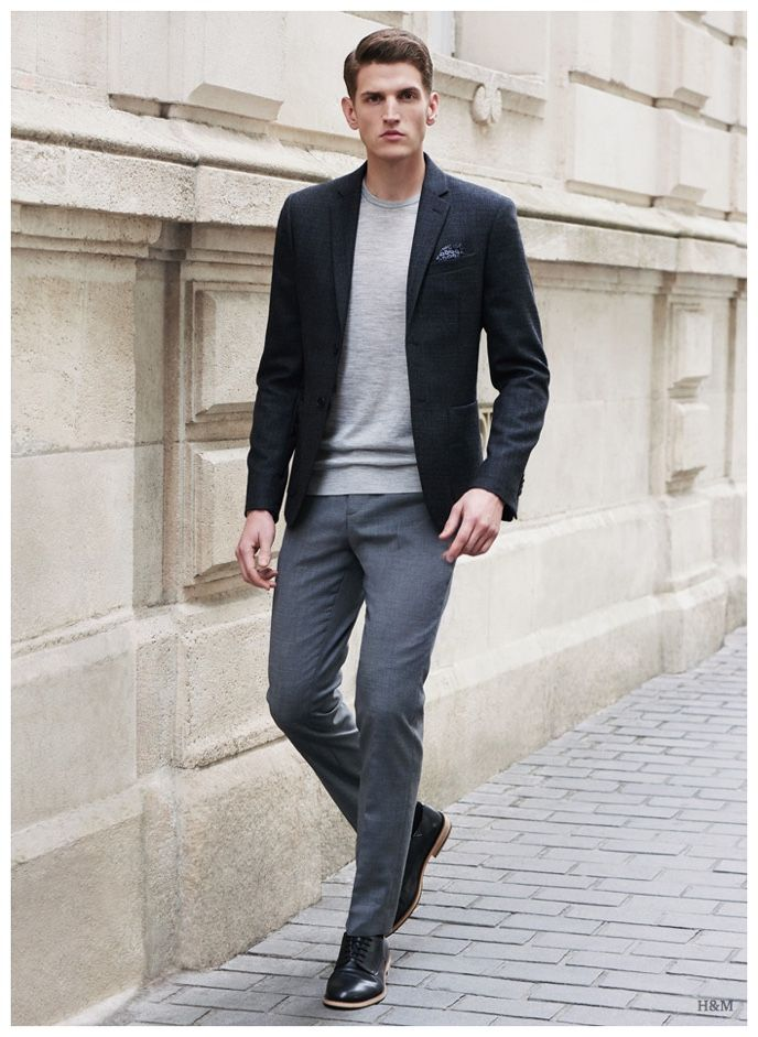 Men's Charcoal Wool Blazer, Grey Long Sleeve T-Shirt, Grey ...