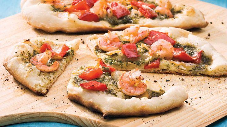 Recipe: Shrimp-Pesto Pizza  Pizza dough from your grocery store, local wholesaler, or favorite pizza restaurant speeds up prep time for summery pizza. Sauté shrimp