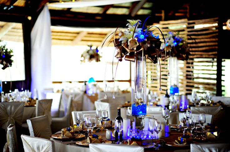 The blue lights in the table arrangements added oodles of pizzazz to the decor