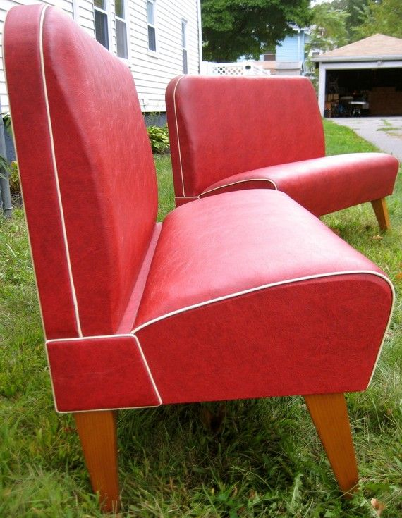 1920s Red Vinyl Diner Booth Bench Vinyls Colors And