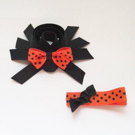 Spider Ribbon Sculpture Hair Clip Set - Halloween Hair Bows - Toddler Hair Clips... Free Shipping Promo