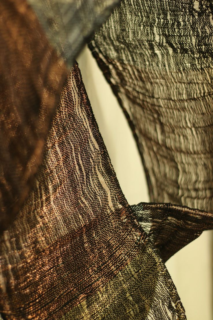 Fiber Artist, Elise Vazelakis' woven steel, copper, brass and fiber.