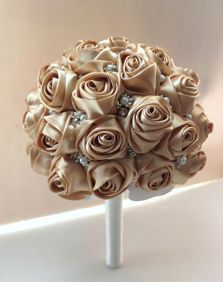 Satin Rose Bouquet, Fabric Rose Bouquet - All Gold / Champagne  rose accented with rhinestone (Large, 9 inch) by LoveMimosaFleur on Etsy