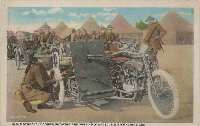US WI Milwaukee WI HARLEY DAVIDSON ARMORED CYCLE WITH SIDECAR MACHINE GUN MILITARY ARSENAL Not a current harley Dealer ACCESSORY RPPC by UpN...