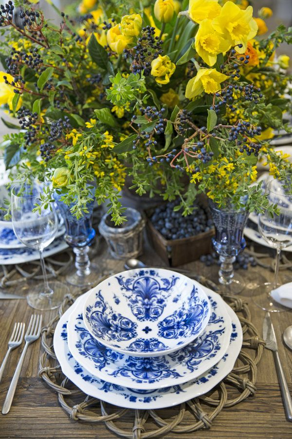 bright blue and yellow wedding table decor - Table Decor