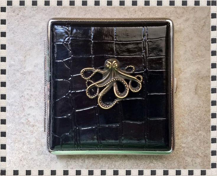 Octopus Cigarette Case , Vintage Inspired, King Size Cigarette Case, Metal Cigarette Box, Business Card Holder, Credit Card Case