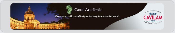 French:  L'Espace Apprendre de Canal Académie propose de développer ses connaissances de la langue et de la culture françaises.   Chaque fiche propose des extraits d'émissions de Canal Académie, accompagnés d'un parcours pédagogique.