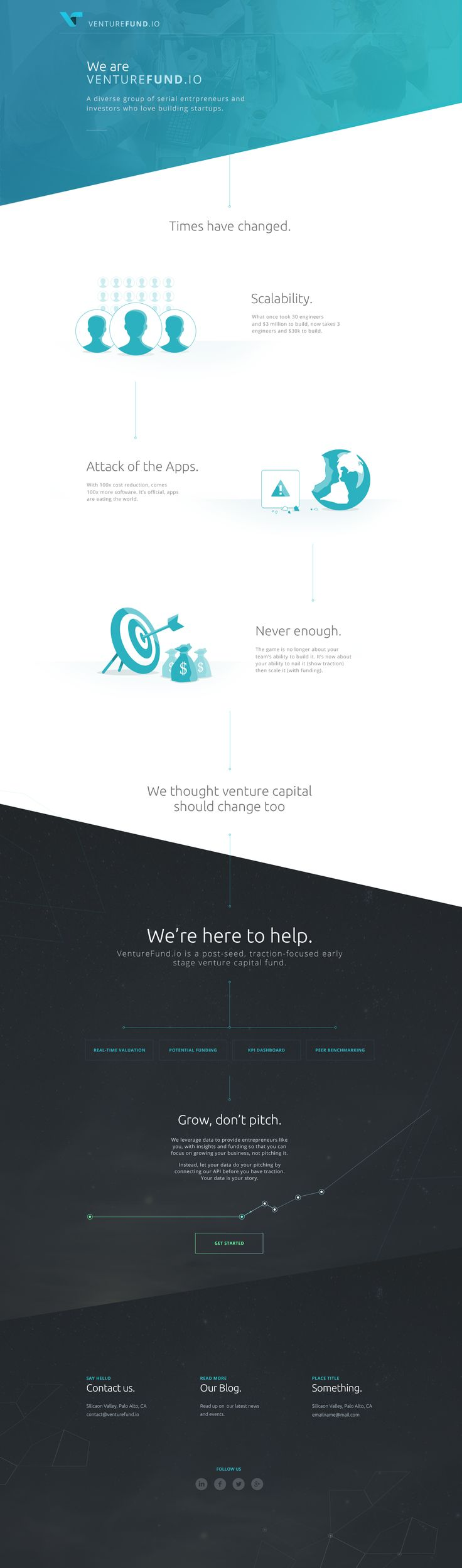 Unique Web Design, VentureFund.io via @pookhan #Web #Design #Flat