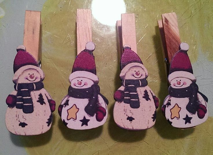 Snowman Magnetic Clothes Peg Note/Memo holders