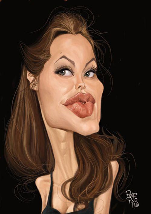 """Caricaturas de Famosos: """"Angelina Jolie"""" por Pablo Pino"""