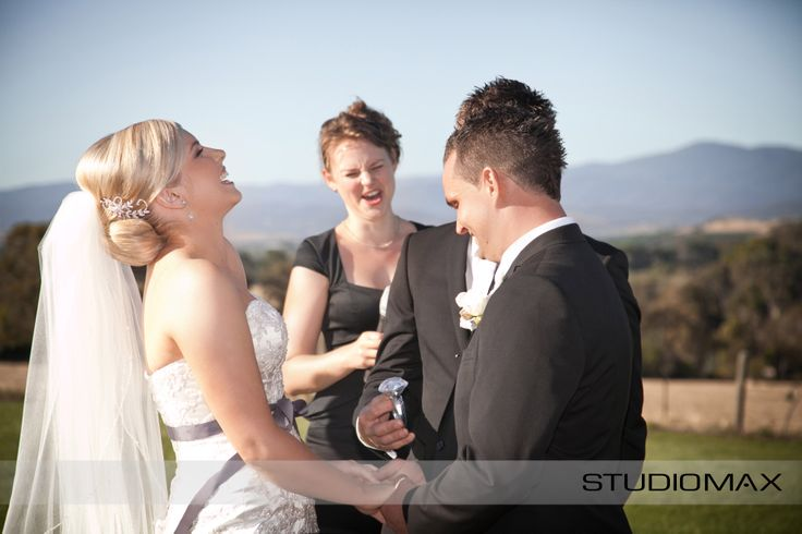 Nothing like jokes during your ceremony. Having a photographer capture those candid moments - priceless!  StudioMax Melbourne Photographers