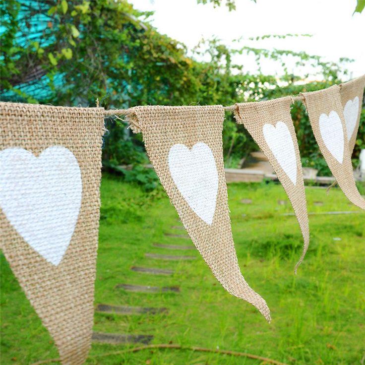 12 Pcs Linge de Coeur Forme Fanions Bannières Drapeaux Mariage De Mariage Cas de L'église Toile De Jute Dentelle Tissu ZLW297 dans   de   sur AliExpress.com | Alibaba Group