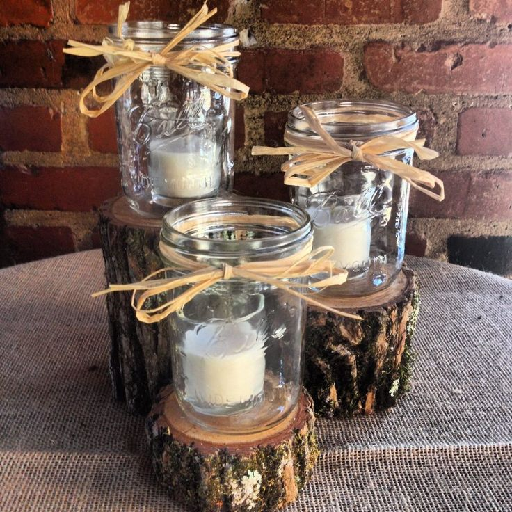 Wedding Decorations Using Mason Jars: 25+ Best Ideas About Log Centerpieces On Pinterest