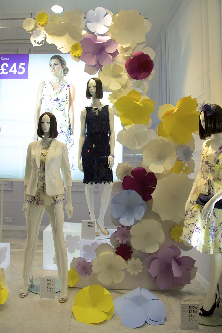 "BHS (British Home Store), London, UK, ""Spring is All Around Us"",C Colour produced these paper flowers, pinned by Ton van der Veer"
