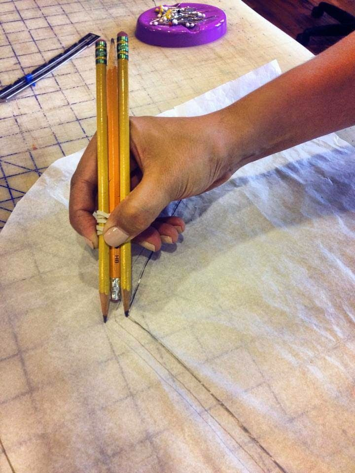 trick to mark the seam allowance using 3 pencils
