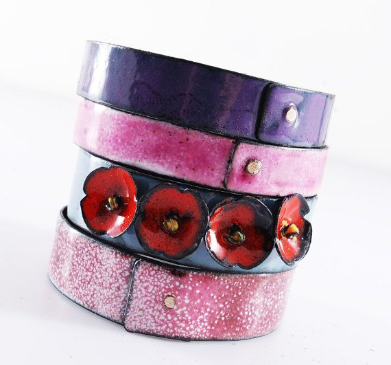 BEAUTIFUL  enameled bangles by OYRZANOWSKA on Etsy