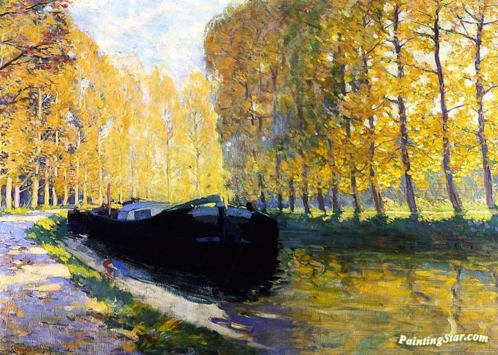 Canal du Loing Artwork by Clarence Gagnon Hand-painted and Art Prints on canvas for sale,you can custom the size and frame