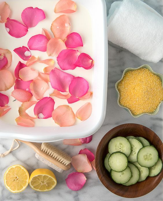 home spa with rose petals, lemon and cucumber