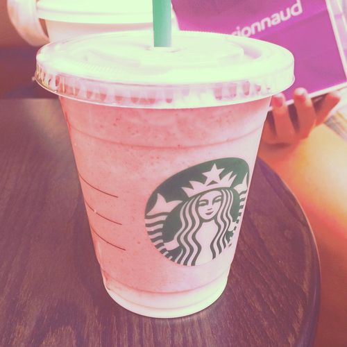 Starbucks in Salzburg strawberry,  #straw,  pink