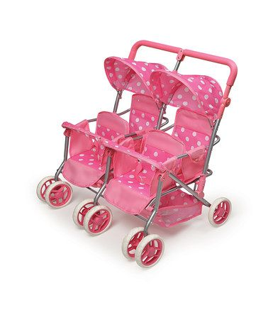 play size stroller for multiples!!!  Craziness! Take a look at this Pink Polka Dot Quad Doll Stroller by Badger Basket