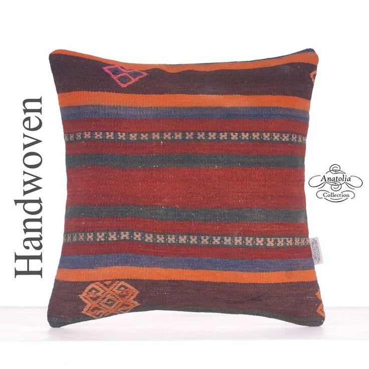 """Ethnic Orange Striped Turkish Kilim Rug Pillow 16"""" Vintage Sofa Throw"""