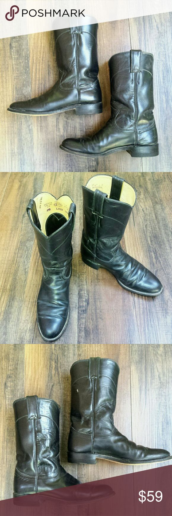 Justin Black Roper Boots Women's SZ 6 Black leather Ropers in good condition. Women's size 6.5 Justin Boots Shoes Heeled Boots