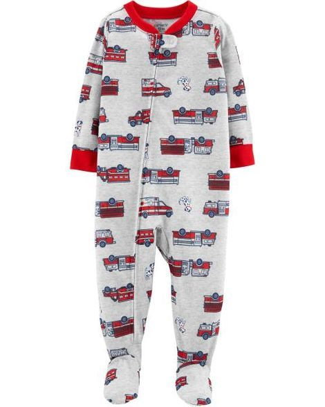 9a3d09de6 1-Piece Firetruck Footed Poly PJs