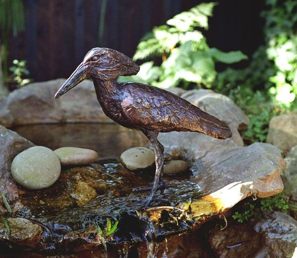 Hamerkop - Sarah Richards - This bronze sculpture makes a fantastic addition to a water feature, adding a South African zest to a special environment.